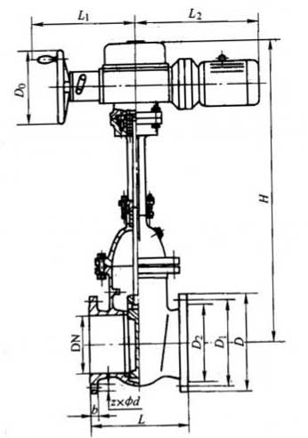 z941t,z941w,z941h型pn10,pn16钢制电动楔式闸阀外形结构尺寸图图片