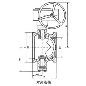 VQ370F、VQ370H、VQ370Y蜗轮对夹式V型球阀