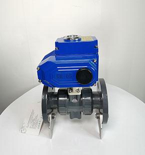 Q941F-10S塑料电动法兰球阀-UPVC电动开关球
